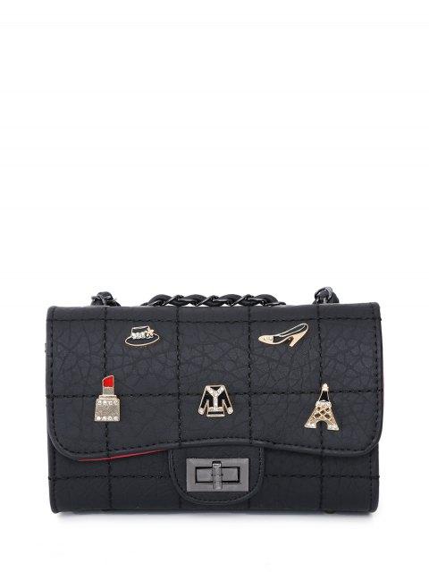 chic Badges Chains Shoulder Bag - BLACK  Mobile