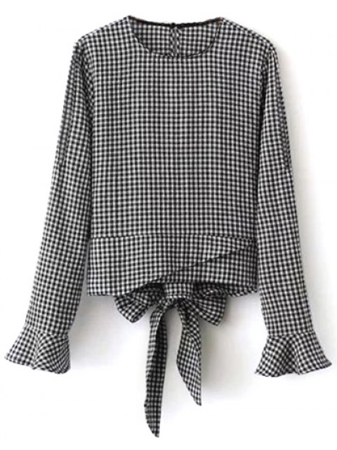 shops Flared Cuffs Gingham Check Blouse - WHITE AND BLACK M Mobile