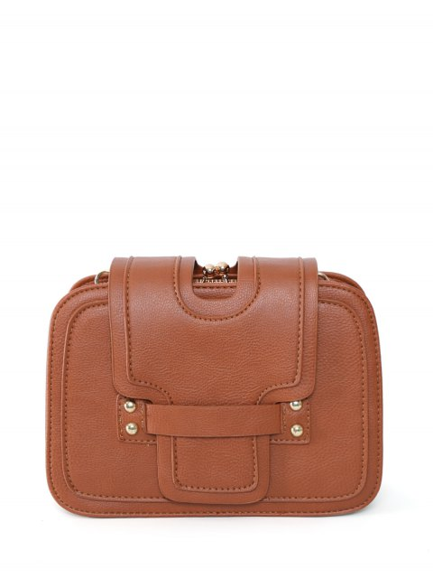 unique Kiss Lock PU Leather Crossbody Bag - BROWN  Mobile