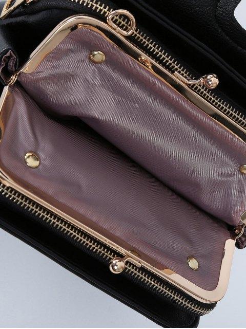 affordable Kiss Lock PU Leather Crossbody Bag - BLACK  Mobile