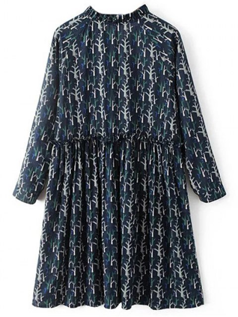 online Tree Print Ruff Collar Smock Dress - DEEP BLUE L Mobile