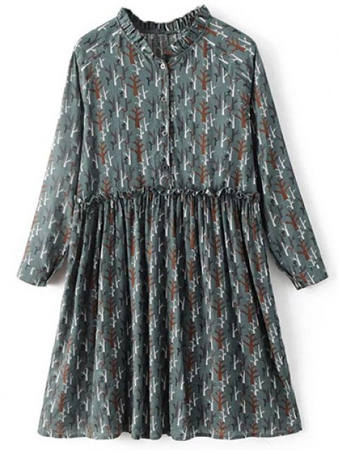 outfits Tree Print Ruff Collar Smock Dress - GREEN GREY M Mobile