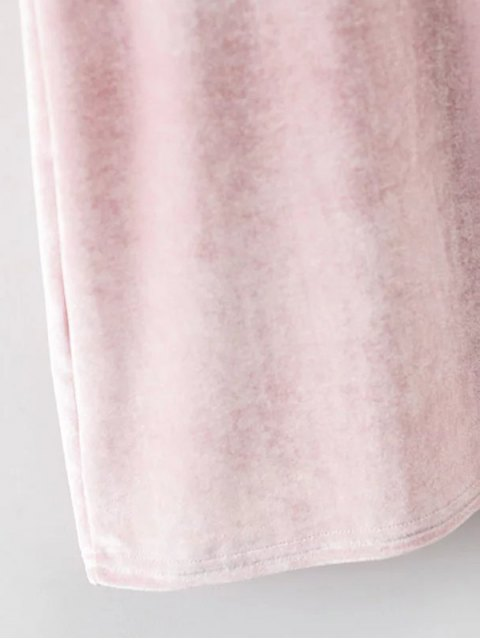ladies Cami Mini Velvet Dress - PINK S Mobile