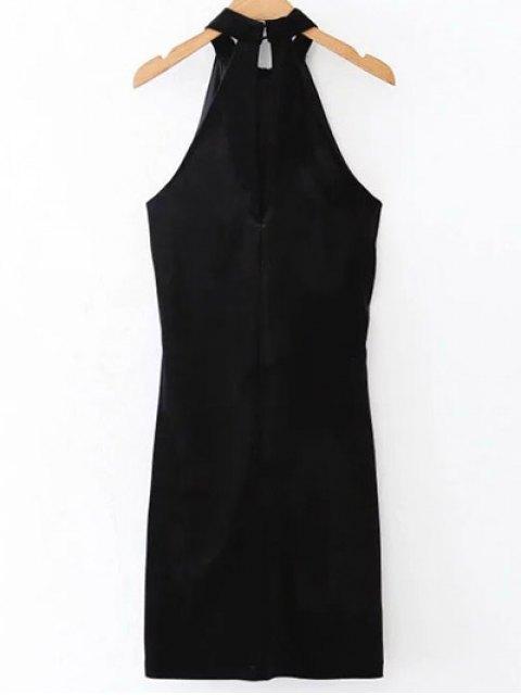 buy Halter Velvet Bodycon Dress - BLACK L Mobile