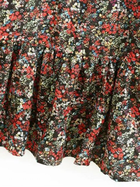 shop Tiny Floral Ruffles Layered Dress - FLORAL M Mobile
