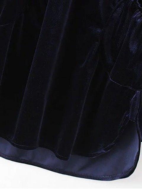 hot Mini Velvet Tunic Dress - BROWN L Mobile