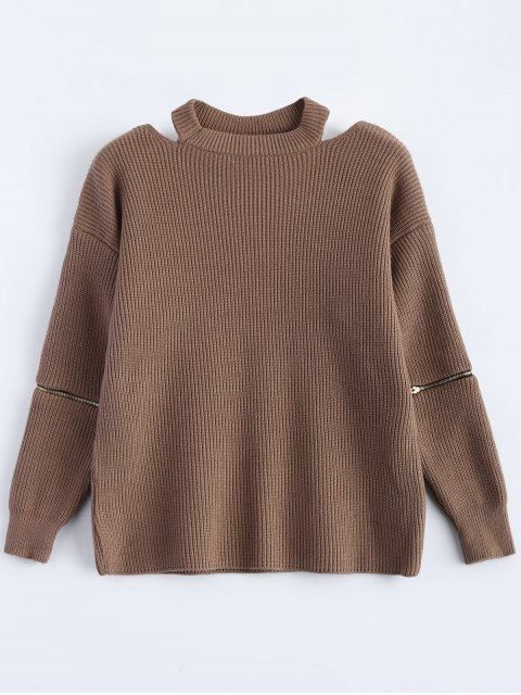 affordable Zipped Sleeve Choker Jumper - KHAKI ONE SIZE Mobile