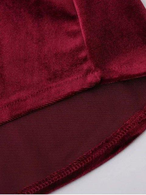 latest Contrast Piped Velvet Shirt Dress - BURGUNDY S Mobile