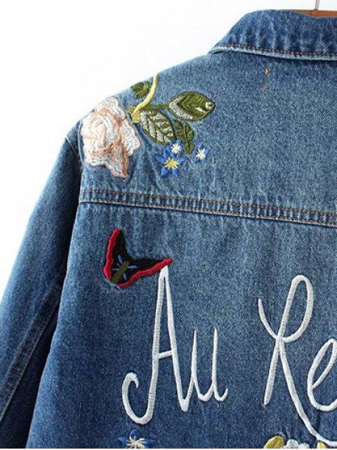 outfit Dark Wash Floral Embroidered Denim Jacket - DENIM BLUE S Mobile