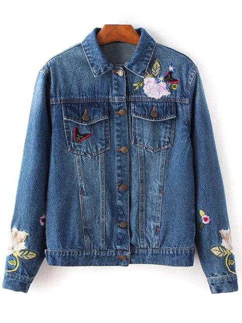 new Dark Wash Floral Embroidered Denim Jacket - DENIM BLUE L Mobile