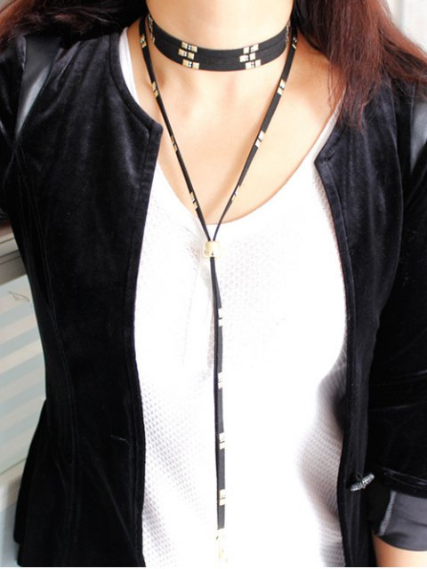 women's Rivet Bolo Necklace - BLACK  Mobile