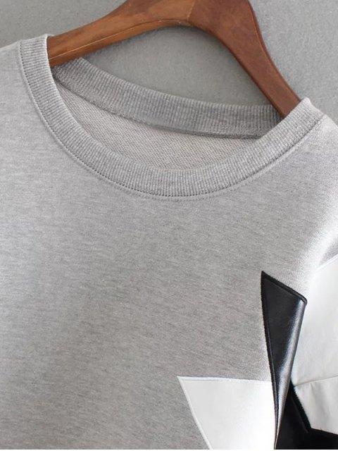 sale PU Leather Pentagram Pattern Sweatshirt - SAGE GREEN ONE SIZE Mobile