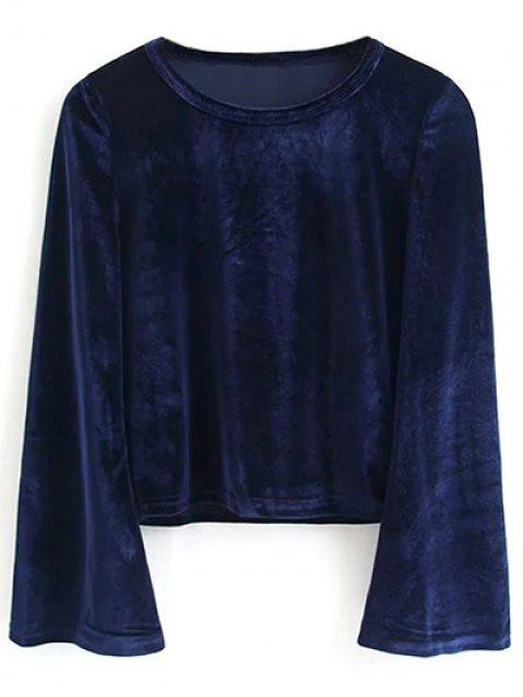 ladies Pleuche Flare Sleeve Cropped Tee - PURPLISH BLUE S Mobile