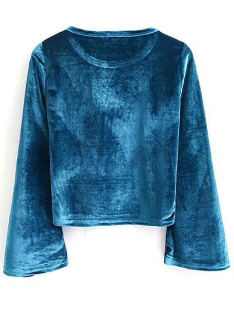 best Pleuche Flare Sleeve Cropped Tee - PEACOCK BLUE S Mobile