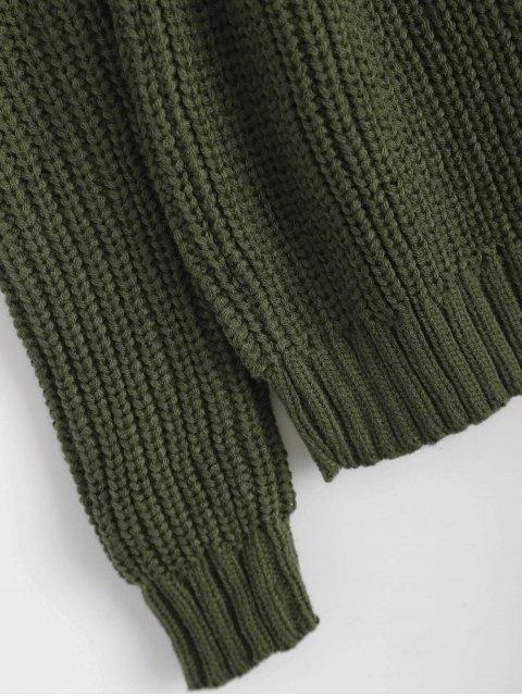 new Cold Shoulder Funnel Collar Jumper - BLACKISH GREEN ONE SIZE Mobile