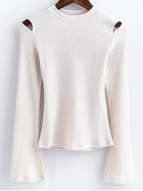 outfit Flare Sleeve Cut Out Ribbed Knitwear - WHITE S Mobile