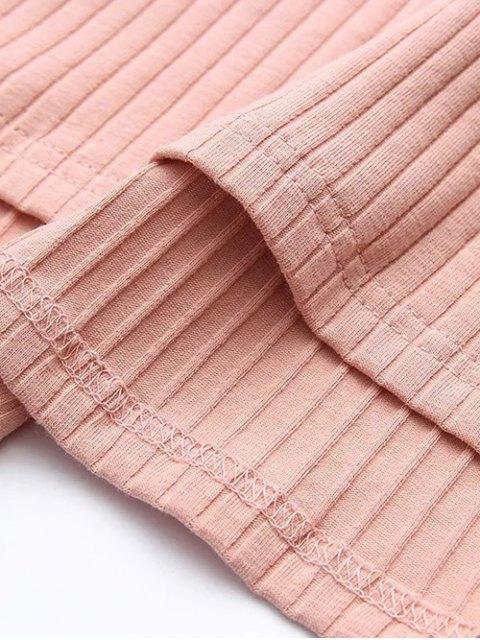 fashion Cutout Ribbed Knitwear Dress - BLACK M Mobile