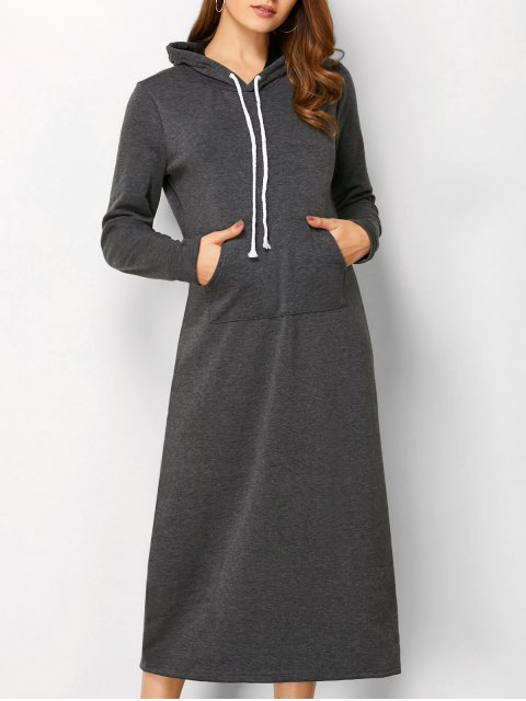 outfits Long Sleeve Hooded Straight Dress - DEEP GRAY XL Mobile