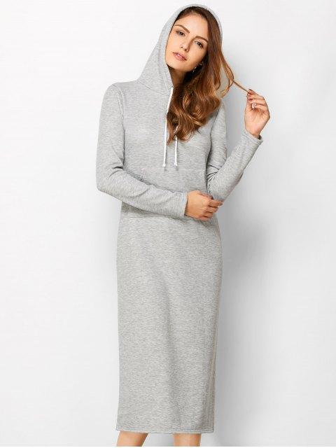 chic Long Sleeve Hooded Straight Dress - LIGHT GRAY M Mobile