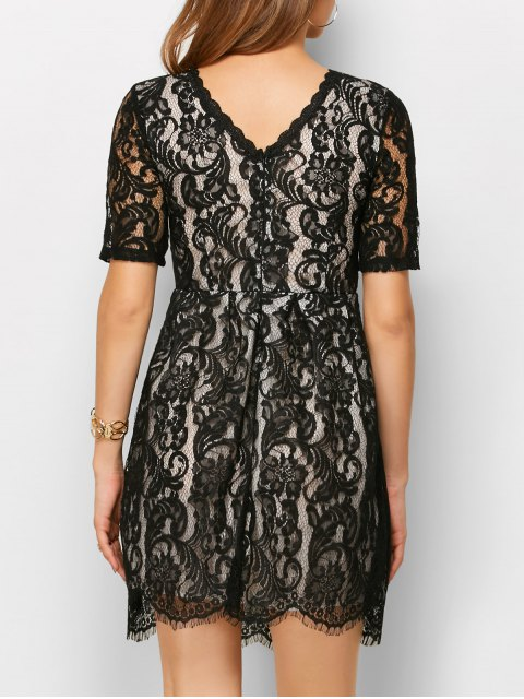online A Line V Back Lace Dress - BLACK M Mobile