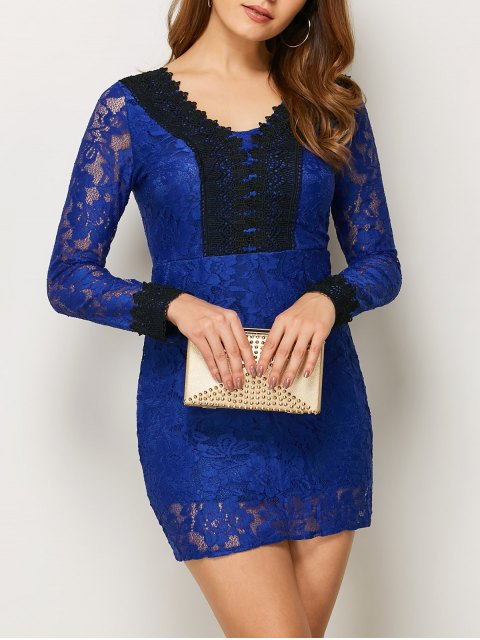 fashion V Neck Bodycon Mini Lace Dress - BLUE S Mobile