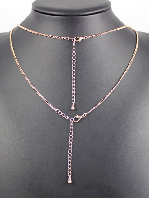 online Layered Ring Bar Necklace - ROSE GOLD  Mobile