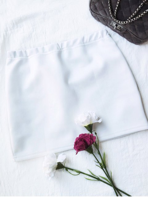 unique Rose Mini Bodycon Skirt - WHITE 2XL Mobile