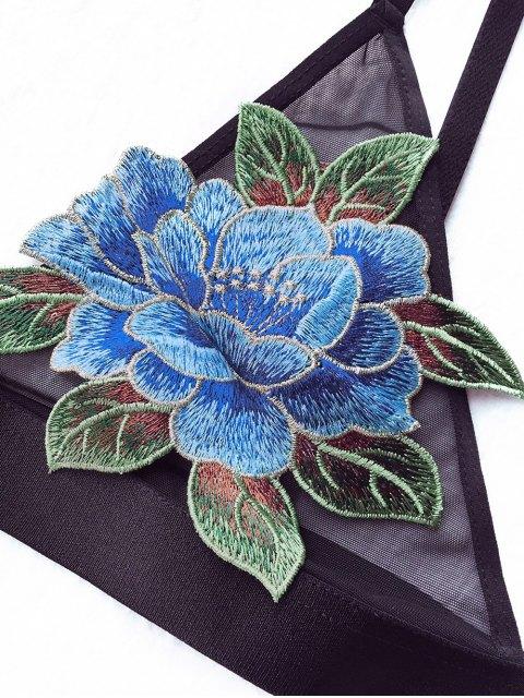 chic Floral Applique Mesh Plunge Bra - BLACK 90D Mobile