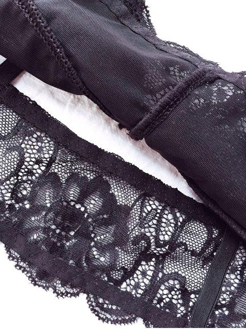 trendy Plunging Neck Lace Bralette - BLACK L Mobile