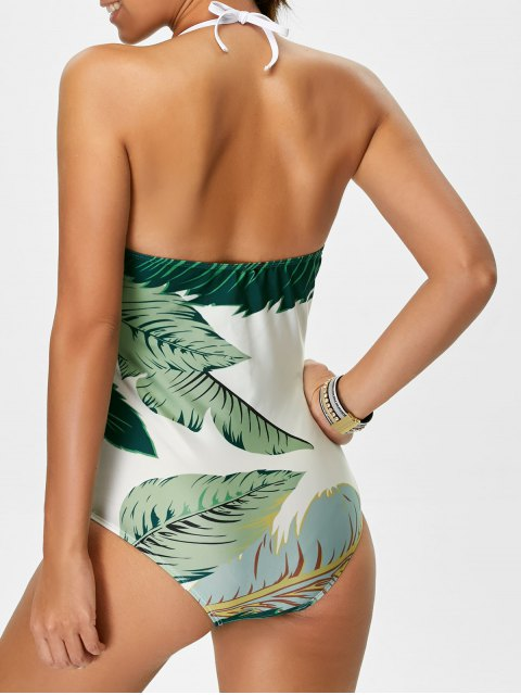 unique Palm Leaf Print One Piece Swimsuit - WHITE AND GREEN M Mobile