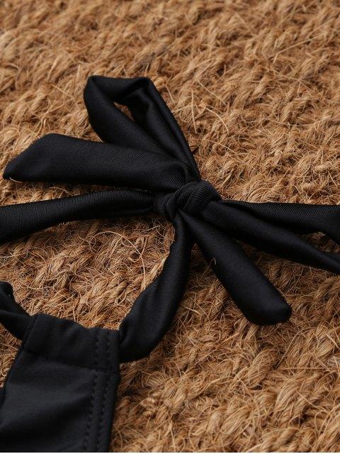 trendy Crisscross Cutout High Neck Bikini - BLACK M Mobile