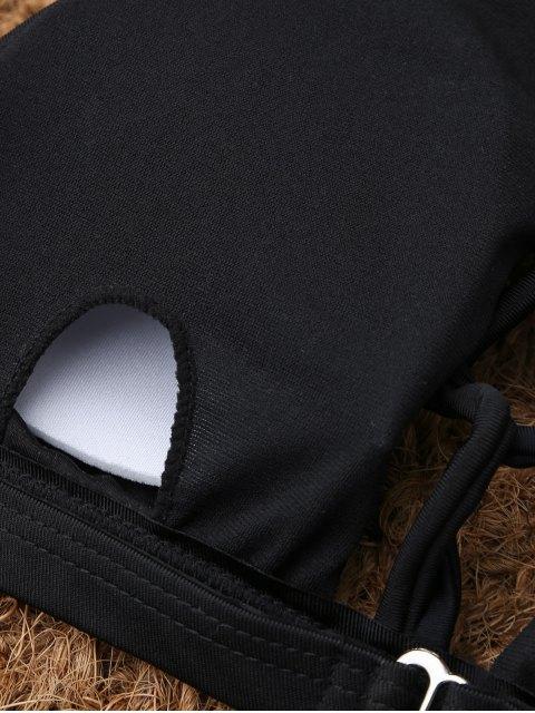 fashion Crisscross Cutout High Neck Bikini - BLACK S Mobile