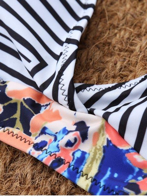 women Stripe Leaf Print Halter Bikini - MULTICOLOR S Mobile