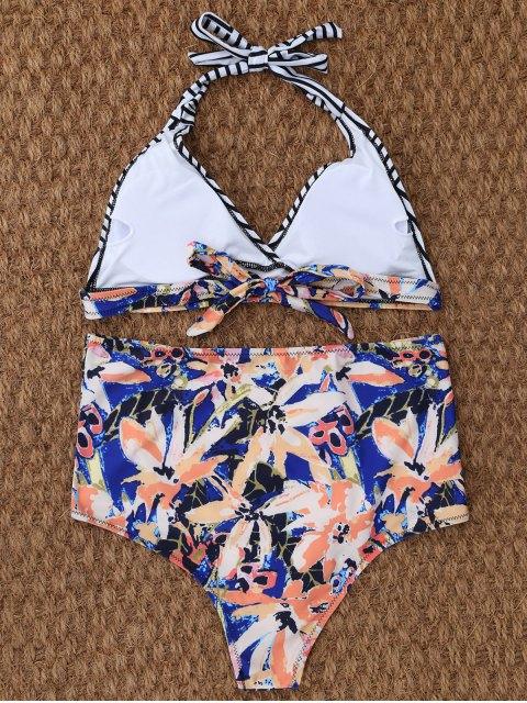 affordable Stripe Leaf Print Halter Bikini - MULTICOLOR XL Mobile