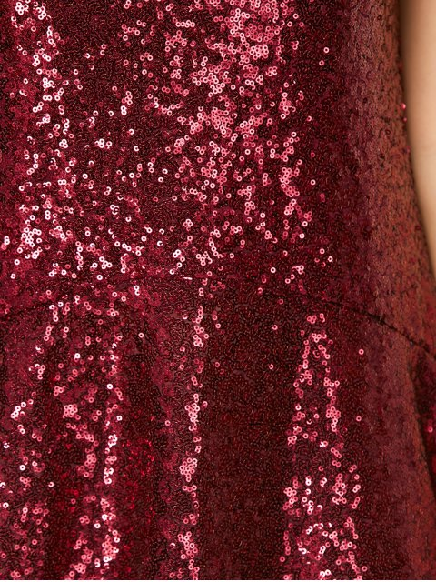 buy Sequined Cut Out Jewel Neck Dress - BURGUNDY 2XL Mobile