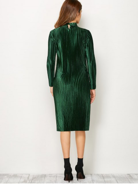 affordable Long Sleeve Pleated Pleuche Party Knee Length Dress - GREEN 2XL Mobile