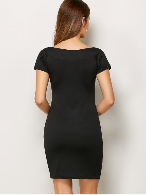 lady Rhinestone Scoop Neck Bodycon Dress - BLACK L Mobile