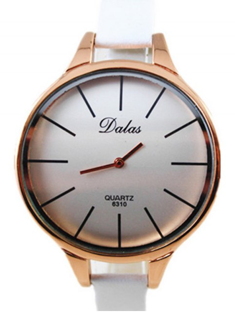 best Faux Leather Curved Analog Watch - WHITE  Mobile