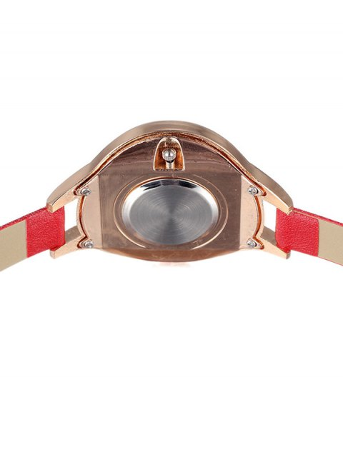 hot Faux Leather Curved Analog Watch - RED  Mobile