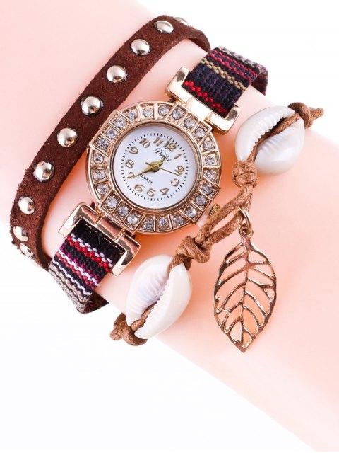 latest Braided Rhinestone Strand Bracelet Watch - BROWN  Mobile