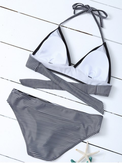 fancy Stripe Plunge Bikini Set - WHITE AND BLACK L Mobile