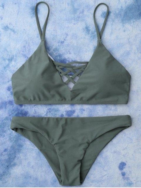 new Lace Up Bikini Swimwear - ARMY GREEN S Mobile