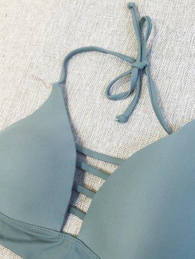 Plunge Bikini Top and Thong Bikini Bottoms - SAGE GREEN S Mobile