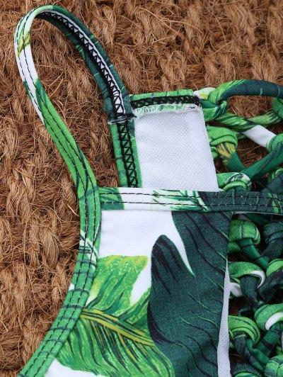 Palm Leaf Print High Neck Keyhole Bikini - GREEN L Mobile