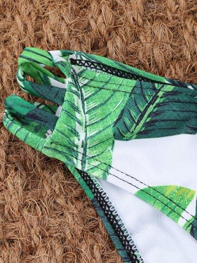 Palm Leaf Print High Neck Keyhole Bikini - GREEN M Mobile