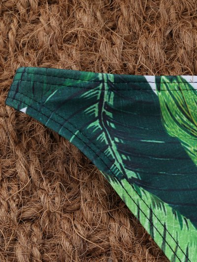 Palm Leaf Print High Neck Bikini - GREEN L Mobile