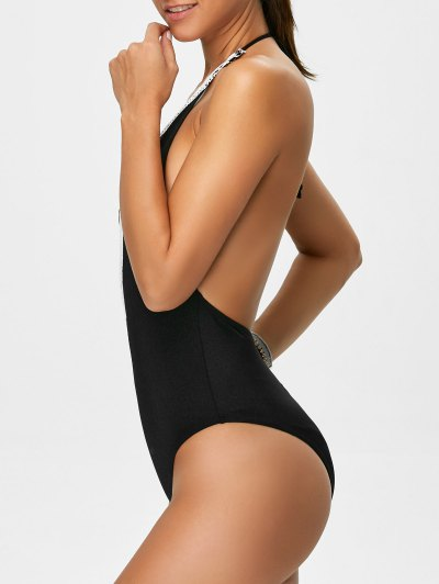 Backless Plunge Neck Lacework Swimwear - BLACK XL Mobile