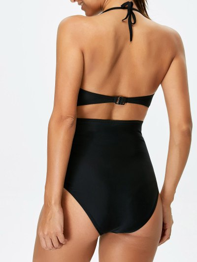 Bowknot Cut Out One-Piece Swimwear - BLACK L Mobile