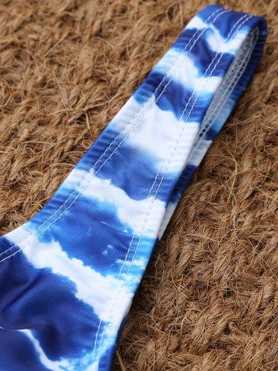 U Neck Tie Dyed Bikini Set - BLUE AND WHITE L Mobile
