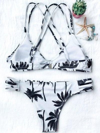 Palm Trees Printed Strappy Bikini - WHITE M Mobile